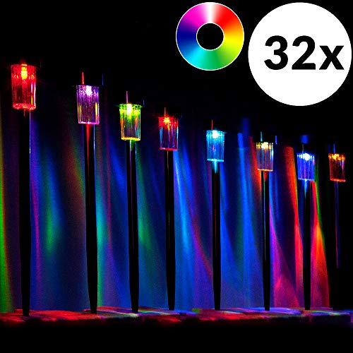 monzana 32 Stück LED Solarleuchte Edelstahl Garten Solarlampe Farbwechsel Gartenleuchte