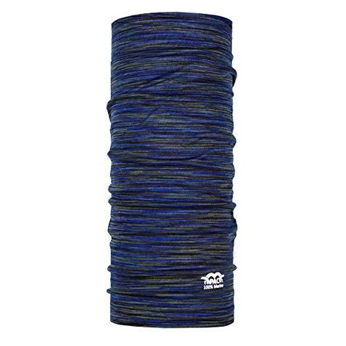 P.A.C. Merino Wool Multi - Deep Ocean Multifunktionstuch - Merinowoll Schlauchtuch, Halstuch, Schal, Kopftuch, Unisex, 10 Anwendungsmöglichkeiten