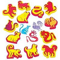 Kit éducatif de tampons des signes du zodiaque chinois, que les enfants pourront utiliser pour décorer et embellir les objets de loisirs créatifs (Lot de 12).