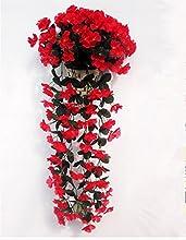 EQLEF® 1 manojo de flores de color violeta Rojo atificial falso colgantes planta de vid de la guirnalda jardín de decoración de la pared