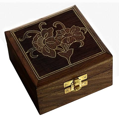 Handmade Indian Wood Jewelry Box - 10 x 10 x