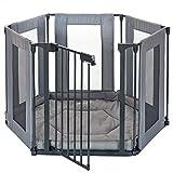 6 Seiten Baby Laufgitter Laufstall mit Tür | weich gepolsterte Bodenmatte Matratze | Textilien leicht abnehmbar waschbar; Grau
