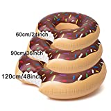 Swim Ring Summer Donut Design Style Anneaux de natation 60 ~ 120cm Taille Piscine d'eau Fun Float Toys Gonflable pour adultes et enfants Ballon de bain gonflable Beach ou Pool Swim Toy (Marron, 90cm)
