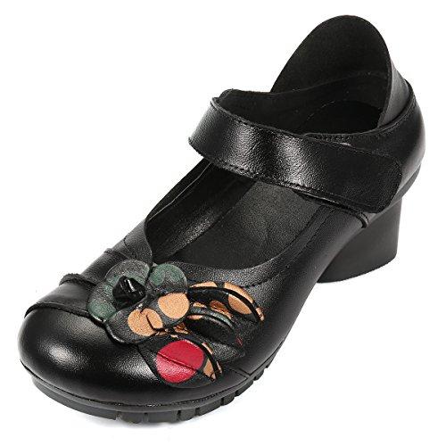 Socofy Damen Mary Jane Schuhe, Leder Mokassins Blume Loafers Schuhe mit Absatz Vintage Komfortabel Bootsschuhe Casual Slip-Ons Klettverschluss Ballerinas Slipper - Schwarz Rot