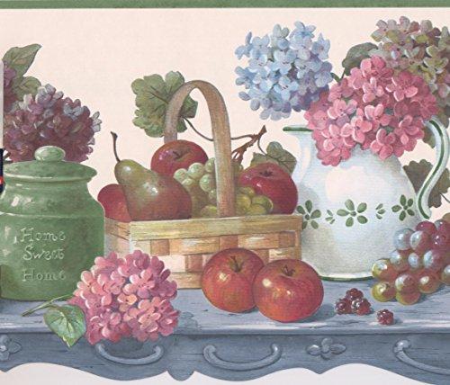 Früchte und Beeren in Körbe auf Küche Tisch Farmhouse Tapete Bordüre Retro Design, Rolle 15'x 25,9cm