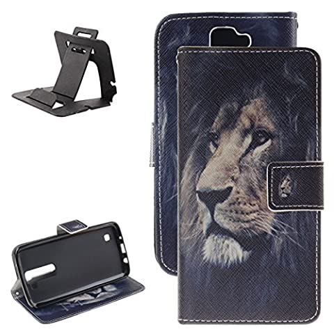 Keyye LG K10 2017 Premium Slim PU Leather Case Wallet Design Magnetic Closure Flip Built-in Soft Rubber Bumper [With Card Holster Slot and Cash Holder] Stand Feature Scrtach Resistant Protective Skin Shell Unique Pattern Perfect Fit Cover for LG K10 2017 + Black Plastic kickstand (Lion Head)