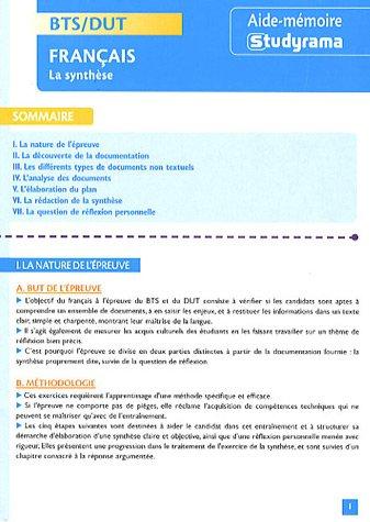 Français BTS/DUT : La synthèse par Charles Tafanelli