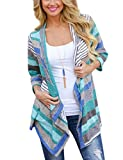 Yidarton Damen Strickjacke Langarmshirt Irregular Colorful Striped Baumwolle Kimono Cardigan Oberteil Mantel Cover Up Outwear (L, Blua)