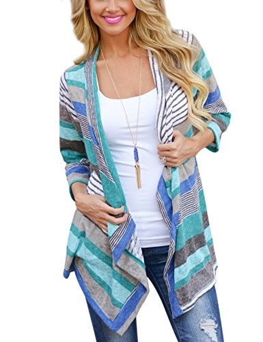 Yidarton Damen Strickjacke Langarmshirt Irregular Colorful Striped Baumwolle Kimono Cardigan Oberteil Mantel Cover Up Outwear (XL, Blua)