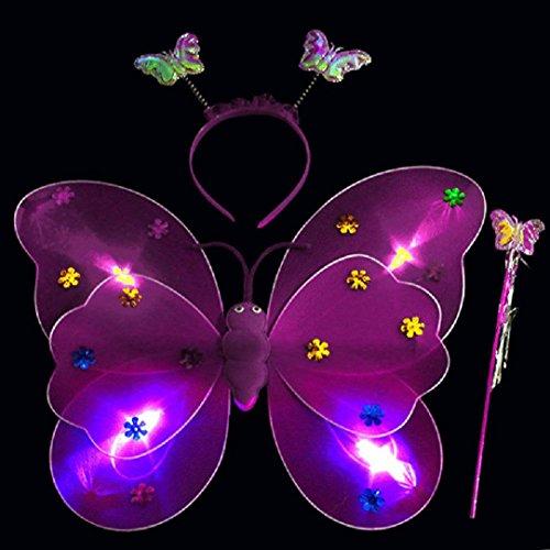 Upxiang 3 Stück Baby Mädchen LED Schmetterling Stirnband / LED Schmetterling Magic Wand / Schmetterling Flügel / reizend Partei-Kostüm-Prinzessin-Mädchen-Kind-Schmetterlings-Flügel-Stab-Stirnband-Feenhaftes Weihnachtskostüm, passt Kindergarten, Geburtstag, Hallowmas Party Kostüm (Lila)