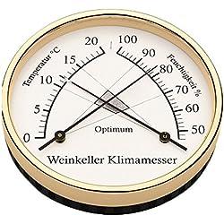 Barigo Thermomètre Hygromètre de cave Ø 10cm, Material:Messing. poliert