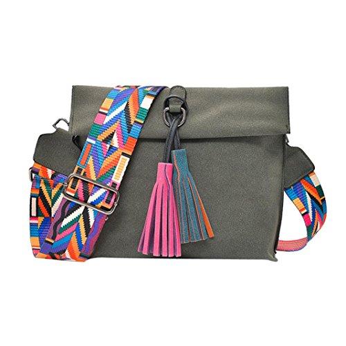 Damen Handtaschen, Huhu833 Frauen Nylon Peeling Schultertasche Messenger Satchel Tote Quaste Umhängetasche Grau