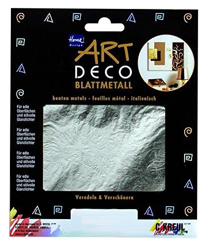 Kreul 99422 - Art Deco Blattmetall, zum Veredeln von Holz, Papier, Leinwand, Kartonage, Styropor, Kunststoff, Wachs, Keramik, Porzellan und vielem mehr, 25 Blatt je ca. 14 x 14 cm, silber - Art Deco Porzellan