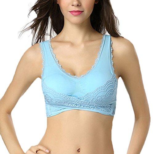 Femme boucle latérale dentelle Soutien-Gorge de Sport soutiens-gorge séchage rapide Bleu
