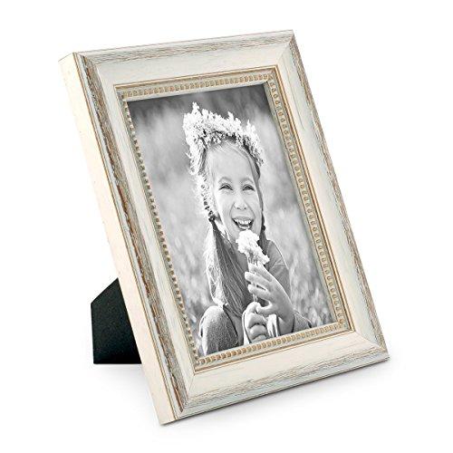 Chic Shabby Stil Weiß Holz (PHOTOLINI Bilderrahmen Shabby-Chic Landhaus-Stil Weiss 15x20 cm Massivholz mit Glasscheibe und Zubehör/Fotorahmen)