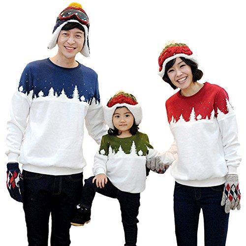 Tomwell Familien Kinder Mama Papa Weihnachten Eltern Kind Weihnachtsbaum Rundhal Kinderkleidung Kapuzenpulli Hoodie Normal EU L (Papa) - Erwachsene Heavy Blend Crew Neck