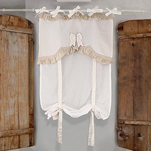 Tenda Finestra Shabby Chic 60 x 160 Fiocco Collection Colore Avorio/Beige 100% Cotone
