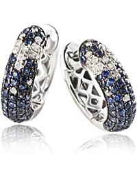 Goldmaid Damen-Creolen Sternenhimmel 585 Weißgold 36 Diamanten 0,18 ct. 104 blaue Saphire Ohrringe Schmuck