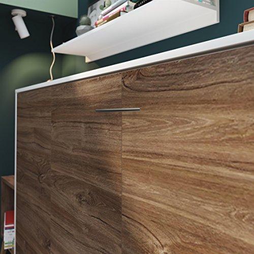 SMARTBett Basic 90×200 Horizontal Weiss/Nussbaum Schrankbett | ausklappbares Wandbett, ideal geeignet als Wandklappbett fürs Gästezimmer, Büro, Wohnzimmer, Schlafzimmer - 6