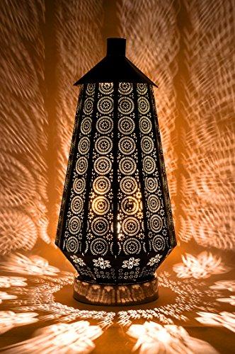 Tischlampe Lampe Adab Schwarz E14 | Marokkanische Tischlampen klein aus Metall, Lampenschirm Schwarz | Nachttischlampe modern, für Vintage, Retro & Landhaus Stil Design (Klein 43cm) (Tisch Lampe, Klein)