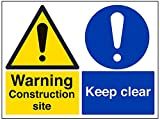 vsafety Schilder 67060bf-r Achtung Baustelle/KEEP CLEAR Achtung Building Sign, 1mm starrer Kunststoff, Landschaft, 400mm x 300mm, schwarz/blau/gelb