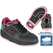Beppi 2150831 - Zapatillas con ruedas para niña, color negro / fucsia