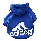 Moolecole Adidog Haustier Hund Kapuzenpullis Pullover Kleider Welpe Katze Winter Warm Kapuze Mantel Kleidung Hoodies Blau(L)