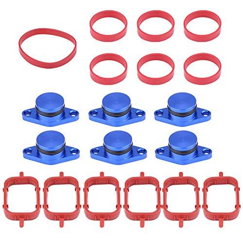 KIMISS Auto Motor Intake Dichtungen Kit, Aluminium & Gummi Diesel Swirl Flap Rohlinge Reparatur Kit Mit Verteiler Dichtungen Diesel Wirbelklappenrohlinge(6 * 22mm-Blau)