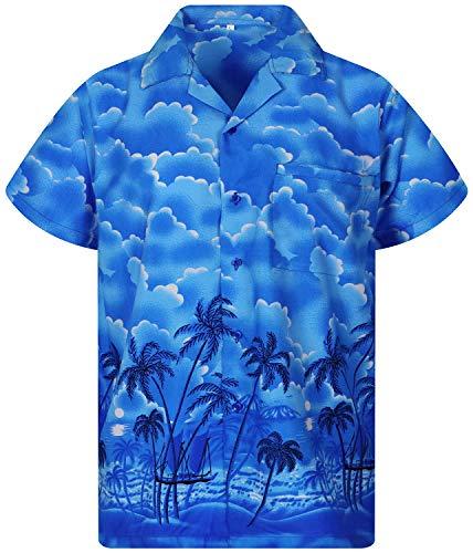 V.H.O. Funky Hawaiihemd, Kurzarm, Dusty Beach, blau, S - Blau Cabana