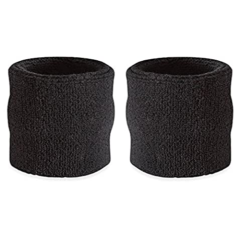 Suddora Wrist Sweatband - Athletic Cotton Terry Cloth Wristband For Sports (Pair) (Black)