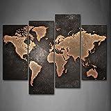 moxo Retro Weltkarte Leinwandbild Europa Karte Bilder Gemälde 4Wand-Kunst Wohnzimmer