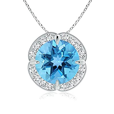 Angara Claw-Set Swiss Blue Topaz Clover Pendant with Diamond Halo omdkoaE