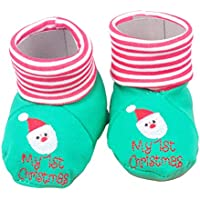 STOBOK Bebé Navidad Botines Zapatos Algodón Bordado Papá Noel Mi 1ra Navidad Invierno Cálido Botas Infantiles para bebé 0-12 Meses Verde