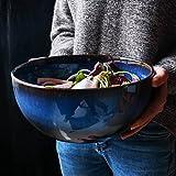 Snack Bowl Salad Bowl Soup Bowl Große Steingut Salatschüssel Blau Runde Glasierte Keramik Schüssel Suppe Schalen, 9 Zoll, Kapazität 2400 ml (Gabel Nicht im Lieferumfang enthalten)