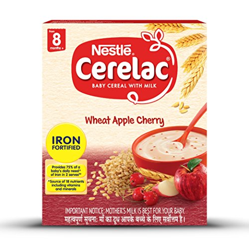 Nestlé CERELAC Fortified Baby Cereal with Milk, Wheat Apple Cherry - From 8 Months, 300g BIB Pack
