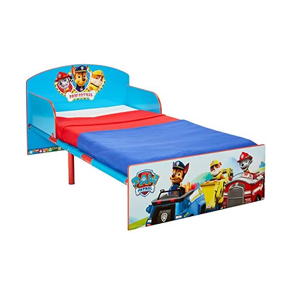 Paw Patrol Kids 505PWP Toddler Bed by HelloHome - Red/Blue Paw Patrol Drift off dreaming with your favourite Paw Patrol characters. Perfect size for toddlers, low to the ground with protective and sturdy side guards to keep your little one safe and snug. Fits a standard cot bed mattress size 140cm x 70cm, mattress not included. Part of the Paw Patrol bedroom furniture range from HelloHome 1