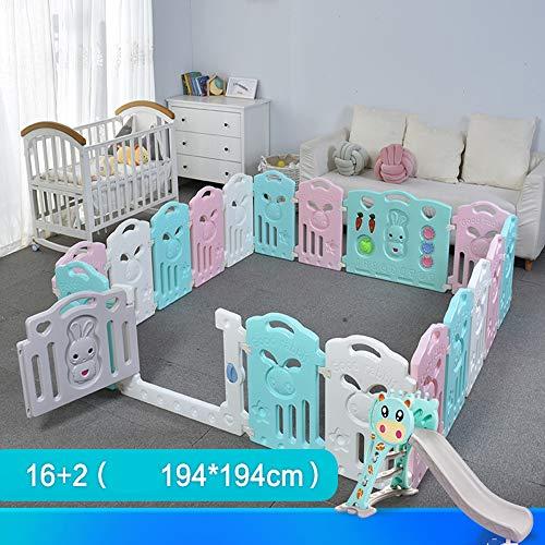 LQUIDE Baby Absperrgitter Laufgitter Laufstall Krabbelgitter Schutzgitter für Kinder aus Kunststoff mit Tür und Spielzeugboard (Mehrfarbig, Klassisch-Set 8 10 12 14 16 18 20 22-Paneele),16+2+Slide