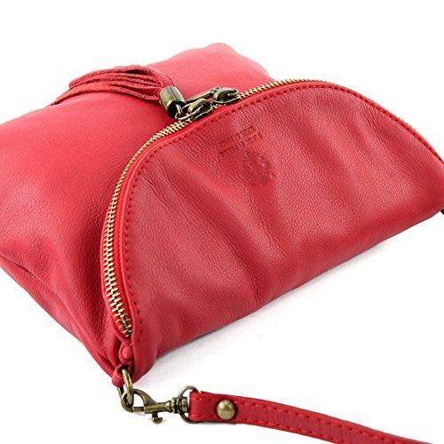 modamoda de - ital. Ledertasche Clutch Umhängetasche Unterarmtasche Klein Nappaleder T07 Rot