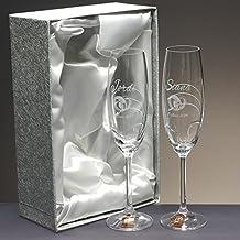Set/Estuche de 2 copas de champán para novios, bodas de plata/oro