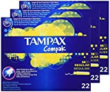 Tampax Centraline percorso Tamponi regolare 22 con applicatore in plastica - Set di 3