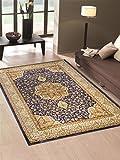 Alfombra económica con dibujo persa en estilo clásico de color azul para el...