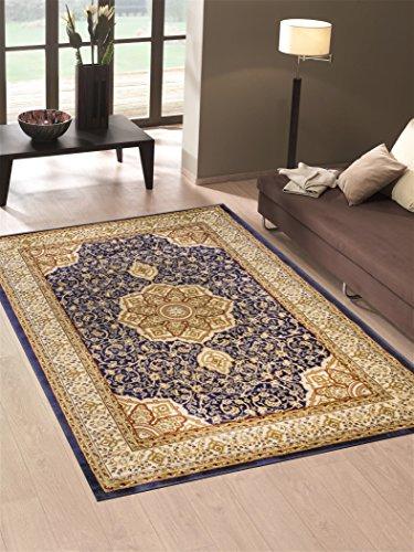 Alfombra economico Dibujo persa estilo clásico color azul Salon 712-blu