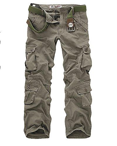 Combat Pantalon pour Homme/Garçon Militaire Cargo Armée Pantalon de Travail Loisir Sport Multi Poches Pants Armée Vert1