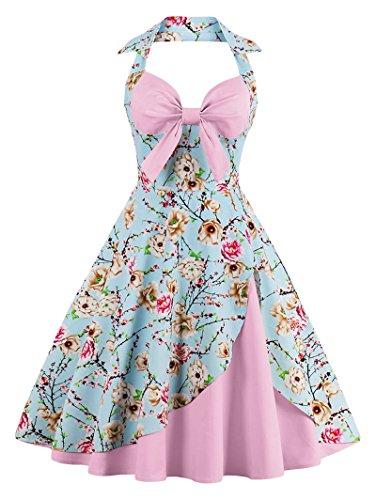 Babyonline Damen Halter Vintage Retro Kleider Abendekleider, Hell Rosa, S (Zubehör In Den 1960er Jahren)