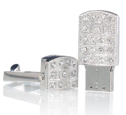 ESCOO 32GB Edelstahl Swirl Schmuck USB-Stick Speicher mit künstlichen Diamantkristallen und Schlüsselanhänger-als Geschenk verpackt