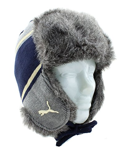 Puma Ralph Knit Trapper Hat Russenmütze Fliegermütze blau grau Russian Cap Fellimitat