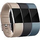 HUMENN Compatible con Fitbit Charge 2 Correa, Edición Especial Deportes Recambio de Pulseras Ajustable Accesorios para Fitbit Charge 2 Pequeño #3 Champán+Negro+Azul Pizarra