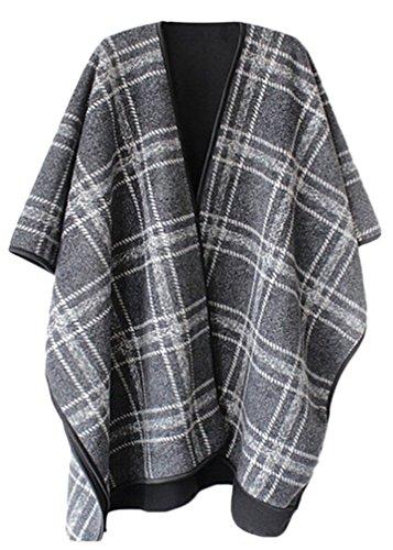 YuanYan Femme Cape Poncho Femme Tricot Carreaux Tartan Style Hiver Chaude gris 2