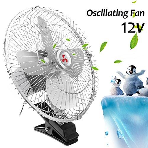 AAPP Shop 10-Zoll-Mini-Elektro-Auto-Clip-Oszillierende Fan Tragbare Kühlung Conditioner 360 Grad Drehen USB-Luft-Lüfter-Kühler, 24V (Elektro-luft-kühler Lüfter)
