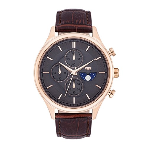 Rhodenwald & Söhne Niles Men's Chronograph Watch Grey Bracelet in Genuine leather / real leather Brown Waterproof / Water-resistant 5 ATM 10010273
